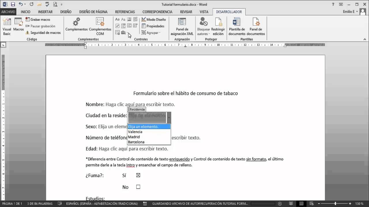 WORD - Hacer formularios PDF OFFICE 2013 - YouTube