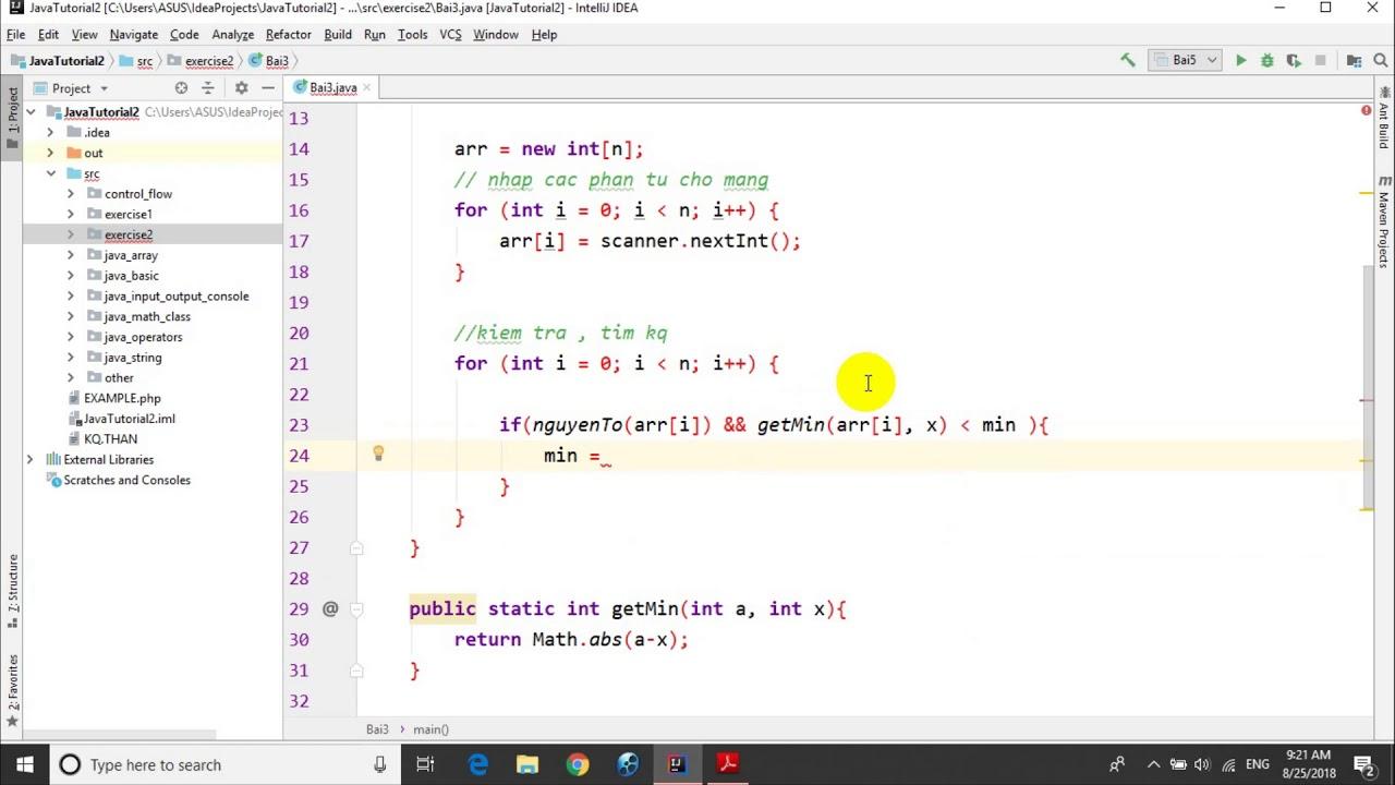 Bài tập Java – Bài 2.3: Tìm số nguyên tố gần x nhất