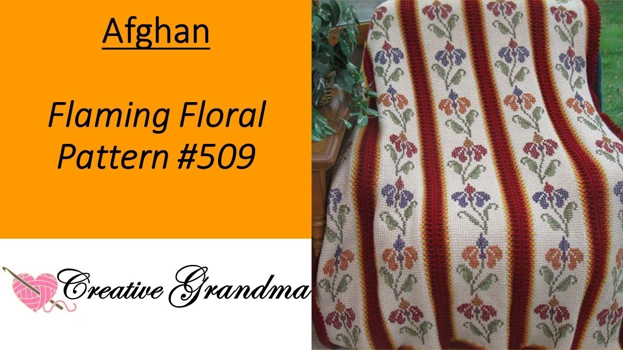 Flaming Floral Afghan 509 How To Do Tunisian Crochet With Cross