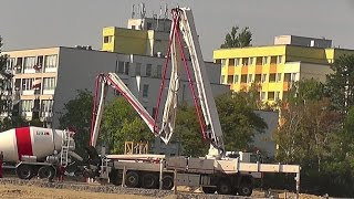 Aufstellung der Betonpumpe Putzmeister M 52-5