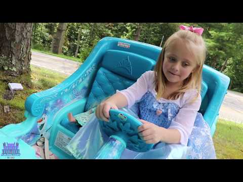 Thumbnail: Frozen 2 Sleigh Ride On Power Wheels Toy Elsa Car Shopping Test Drive Disney Princess Carriage