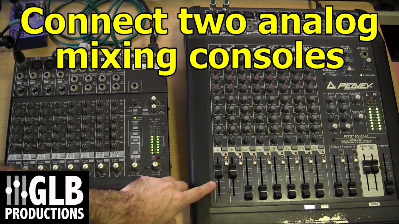 how to connect two analog mixing consoles together youtube