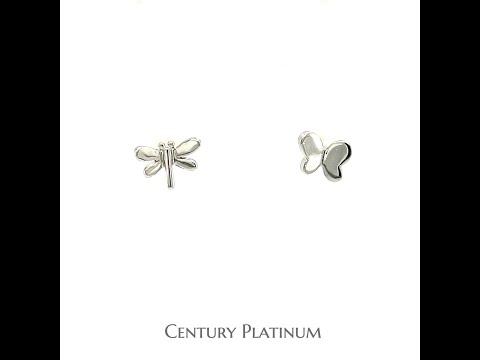 世紀白金【白金耳環】蜻蜓 蝴蝶 雙飛 WEB032