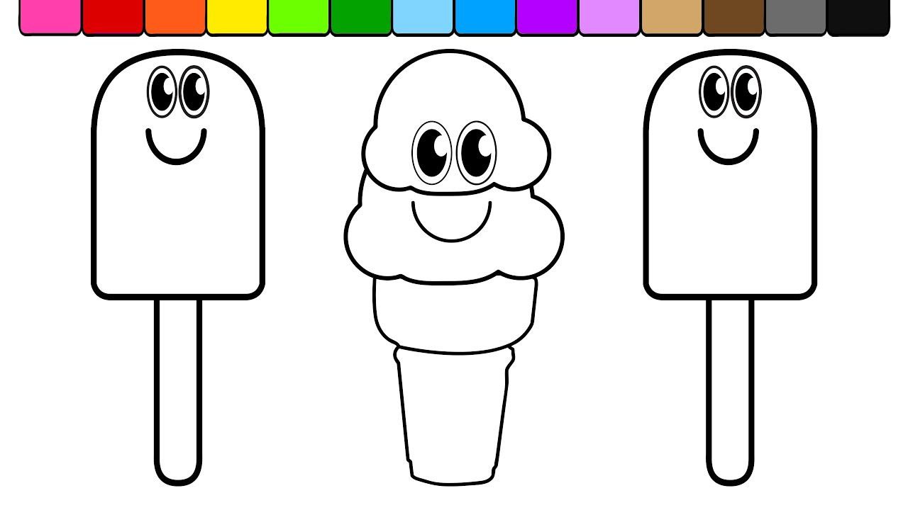 learn colors for kids and color smiley face ice cream popsicle
