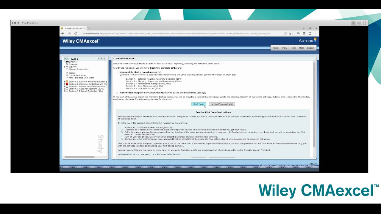 Wiley Cmaexcel Practice Exam Tutorial Youtube