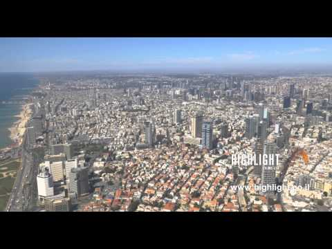 AT4K 003 - 4K stock footage of Tel Aviv: a panoramic view of the Tel Aviv city center and coast line