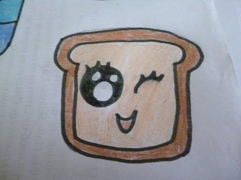 Dibuja panecito kawai aprende a dibujar youtube - Como hacer dibujos en la pared ...