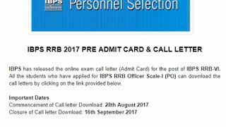 IBPS RRB Pre Admit Card   IBPS RRB VI Pre 2017 Call Letter Out