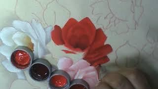 Rosa vermelha – pintura em tecido com a artesã Cristina Ribeiro