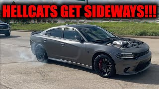 HELLCATS GET SIDEWAYS INFRONT OF COPS LEAVING CAR SHOW!!!
