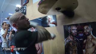 MIGUEL COTTO'S FINAL BOXING WORKOUT - MITTS & HEAVY BAG - COTTO VS ALI VIDEO
