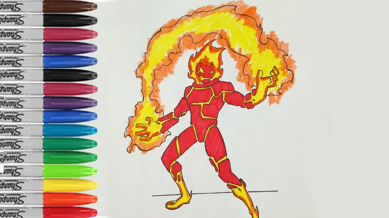 Heatblast Playing Fire Coloring Book Page Ben 10 Alien ...