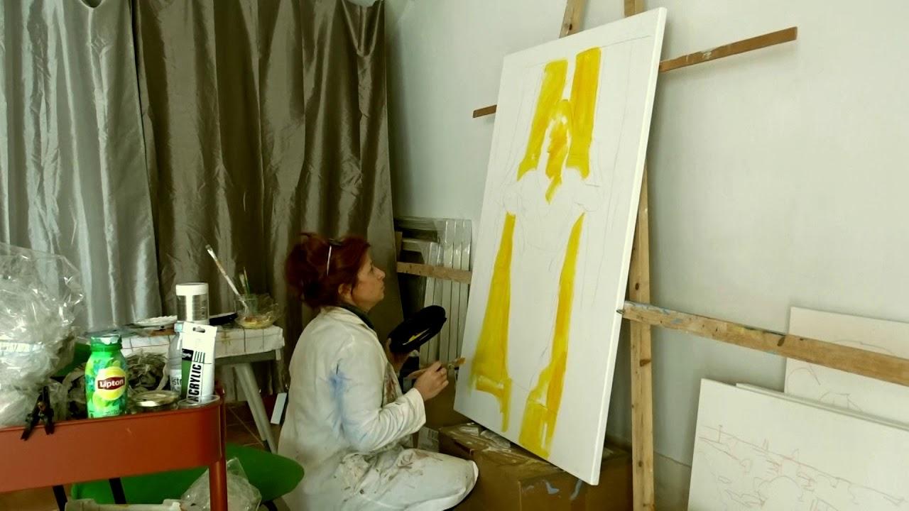 Painting for the new exhibition! Click to watch video! Pintando a nova exposição!