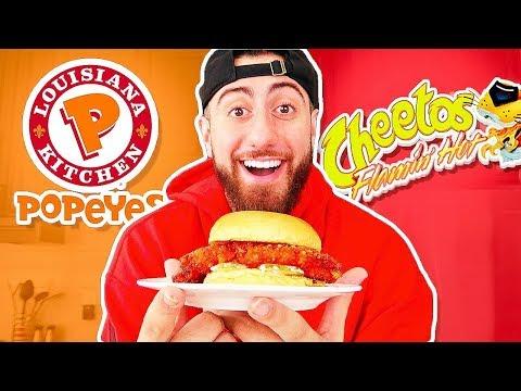 DIY Popeyes Chicken Flamin Hot Cheetos Sandwich!
