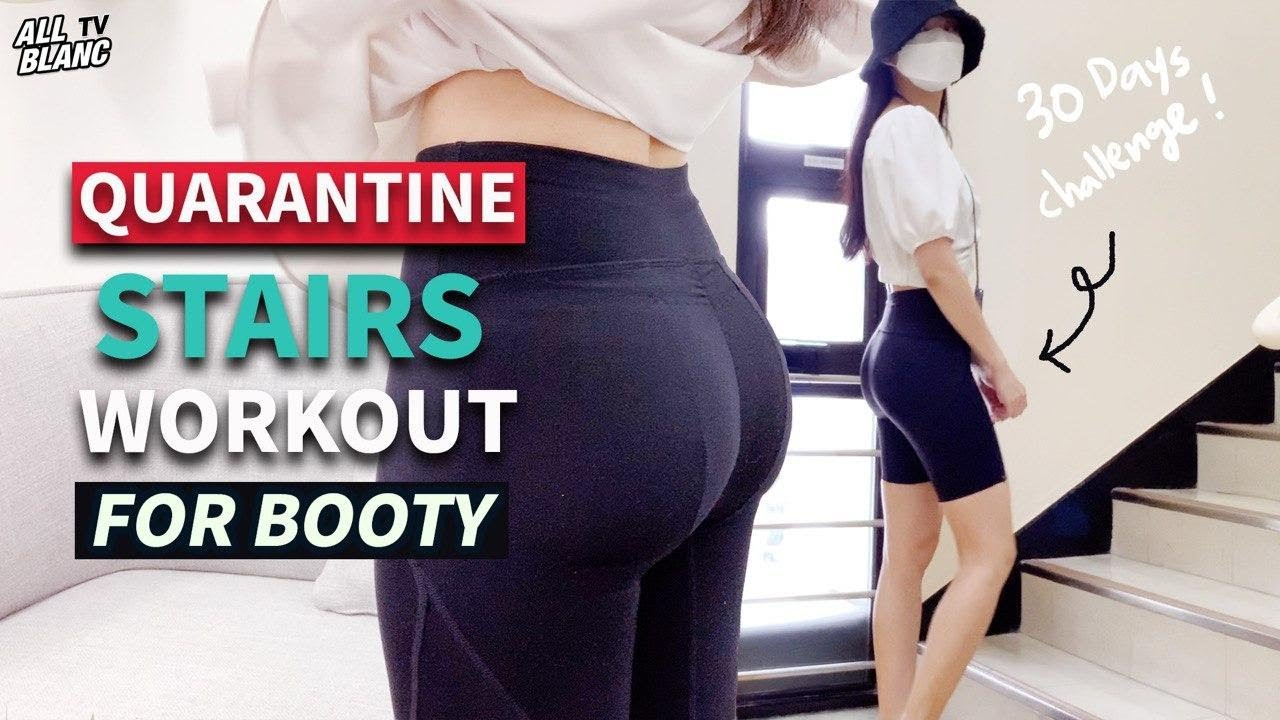 [EN] STAIRS BOOTY WORKOUT - 30 DAYS CHALLENGE (Quarantine, Hourglass body)ㅣ힙업 계단운동 다이어트 - 30일 챌린지