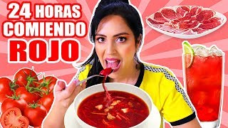 24 HORAS COMIENDO ROJO | RETO SandraCiresArt | All Day Eating Red Food Challenge