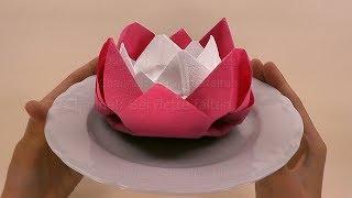 Repeat youtube video Servietten falten Ostern: Blume / Rose - DIY Osterdeko Basteln Ideen: Tischdeko