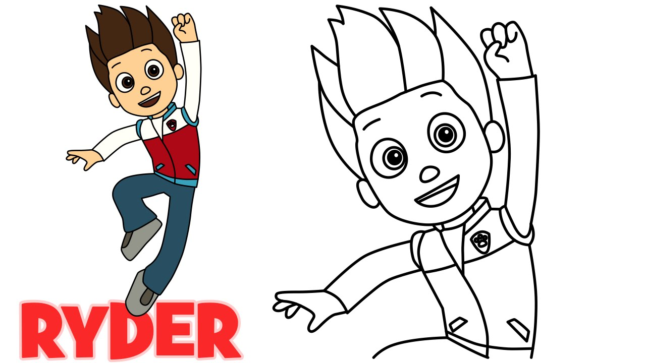 How To Draw Ryder Paw Patrol Characters Step By Step Easy Drawing