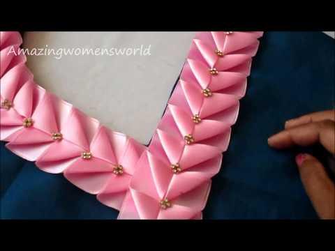 Beautiful Neck & Sleeves Design for Churidar / Kurt - Easy Ribbon Work Lace Making at home