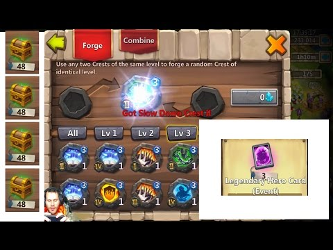 Forging Level 3 CRESTS 50 Fortress Chests Legendary EVENT Hero Cards Castle Clash
