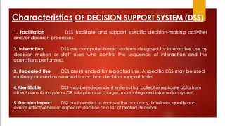 Components and Characteristics of Decision support systems   Dss in hindi