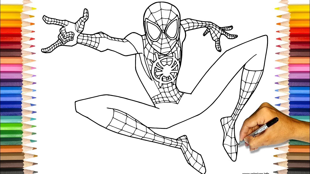 SPIDER-MAN Miles Morales Coloring Book | Spider-Man Into ...