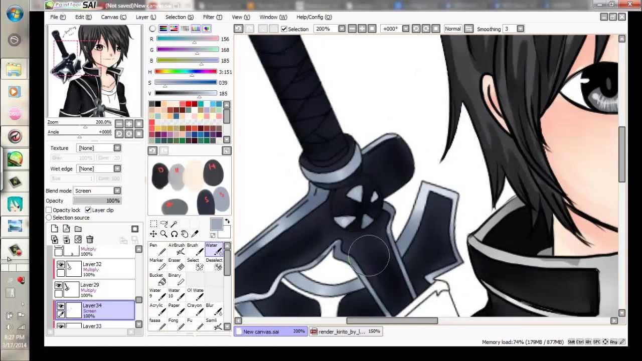 Paint Tool Sai Speedpaint Fanart Kirito Sword Art