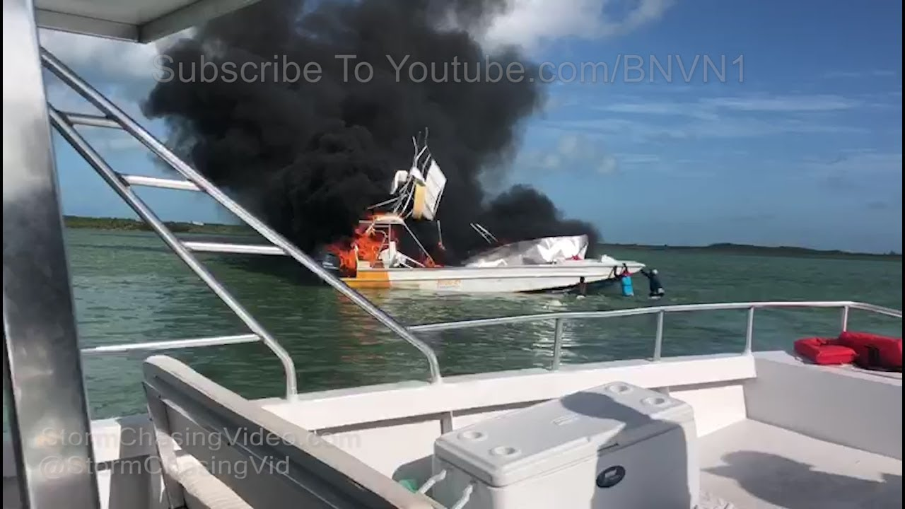 Complete Boat fire video off the coast of Barraterre Exuma Bahamas -  6/30/2018