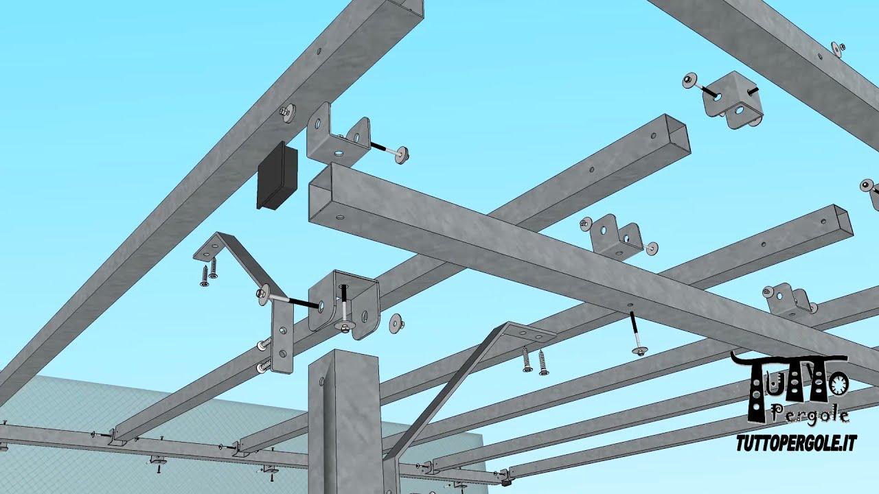 Dettagli struttura in ferro zincato addossata in 3D