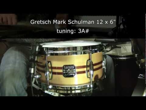 Gretsch Mark Schulman 12 x 6 snare drum tuning range