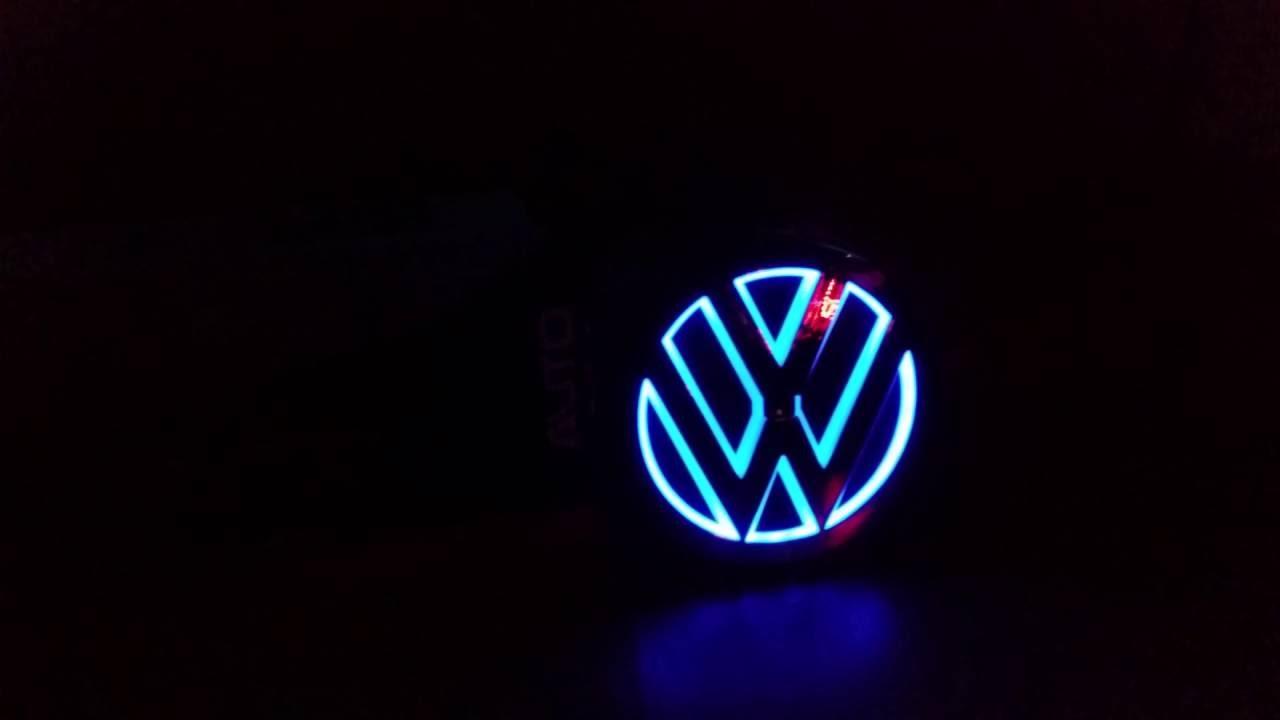 vw emblem heckklappe mit blaue beleuchtung blue led