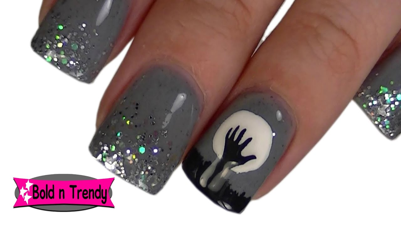 Creepy Hand Halloween Acrylic Nails Simple Easy