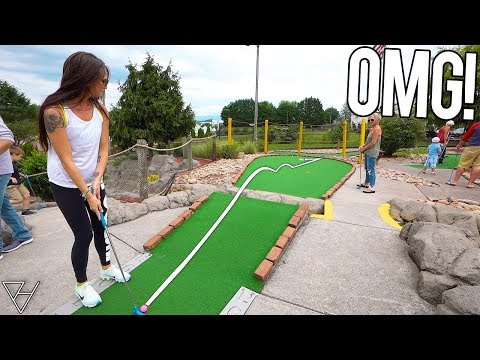 Crazy Jumping A River Mini Golf Hole In One!