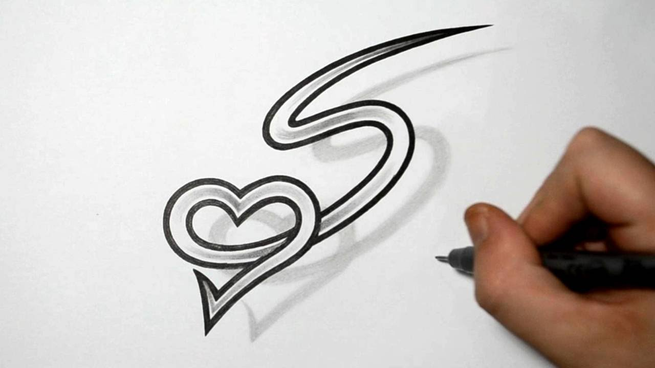 letter s and heart combined tattoo design ideas for