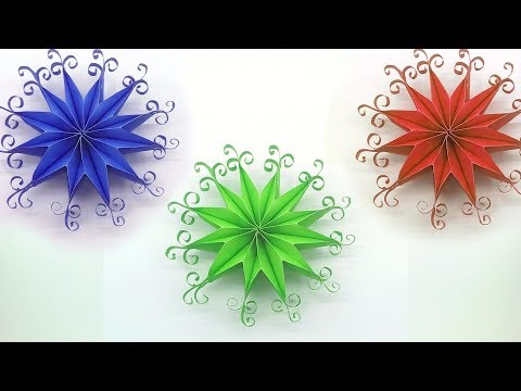 Remake DIY 3D Quilling Origami Paper Snowflakes | Christmas Flower Tutorial