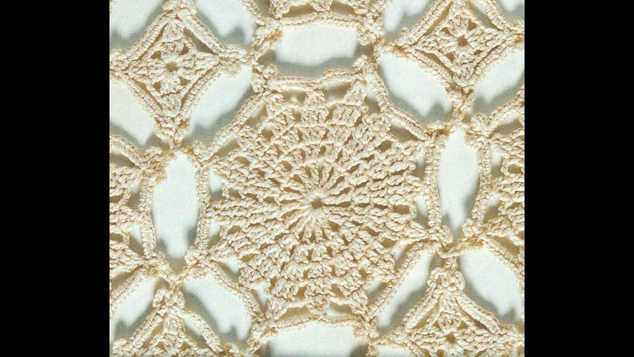 Patrón Para tejer mantel mosaico de flores a crochet - YouTube
