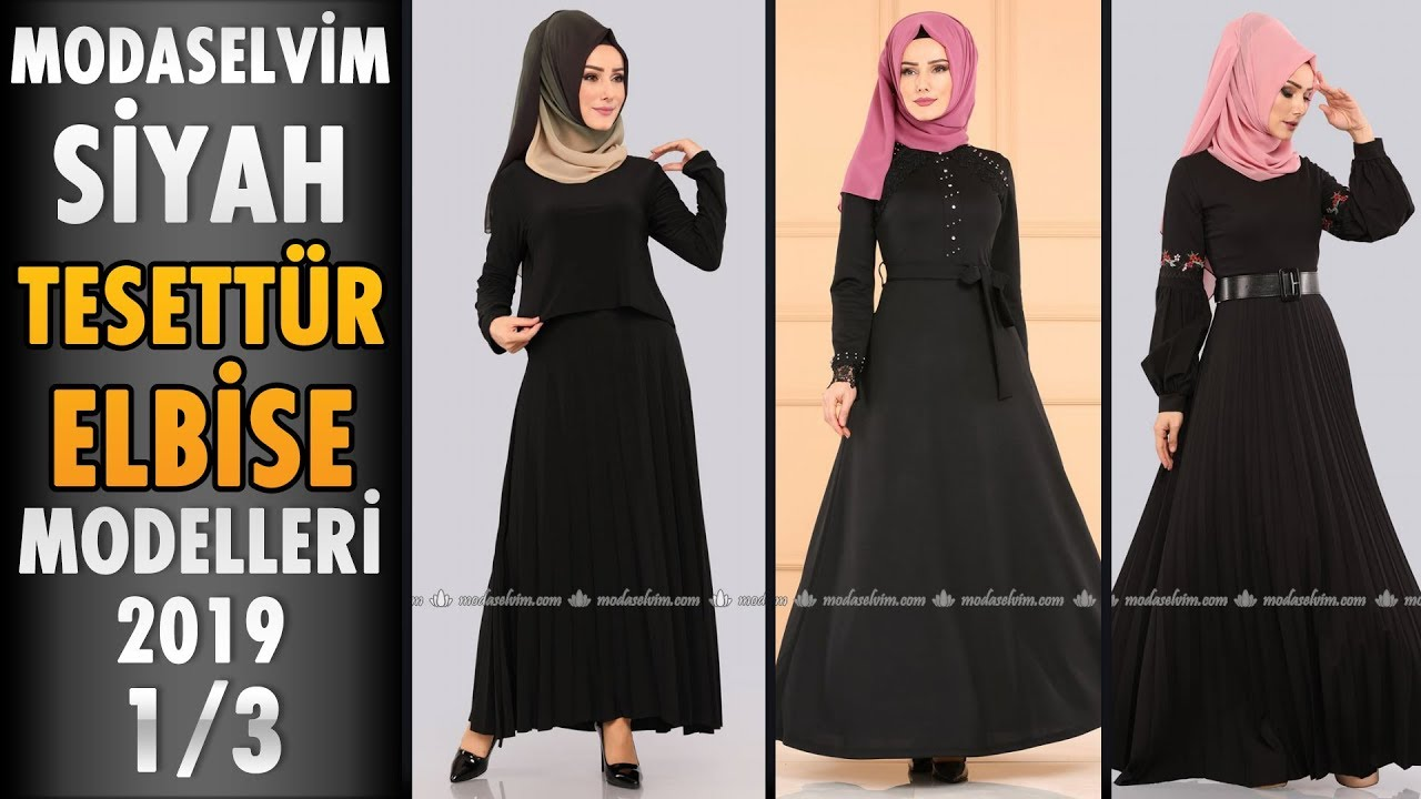 456802308e8eb #Modaselvim Siyah #Tesettür Elbise Modelleri 2019 - 1/3 | #Hijab #Dress |  #Black #elbise #Siyah