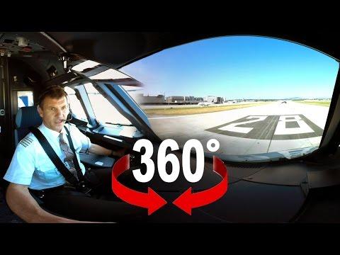 360° cockpit view | SWISS Airbus A320 | Zurich – Geneva