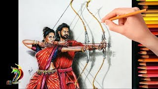 Bahubali 2-The Best Scene of Movie | 3D Drawing of Prabhas & Anushka Shetty -Slow Speed Video