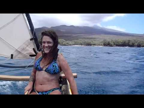 Sailing Outrigger Canoe at LaPerouse Bay Maui with Goddess