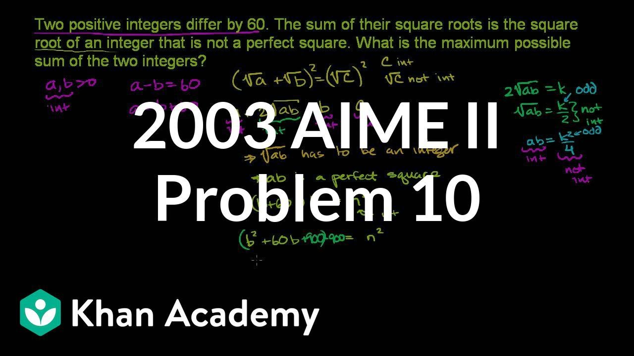 2003 aime ii problem 10 | aime | math for fun and glory | khan