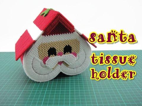 Christmas Craft Plastic Canvas Santa Tissue Holder Youtube