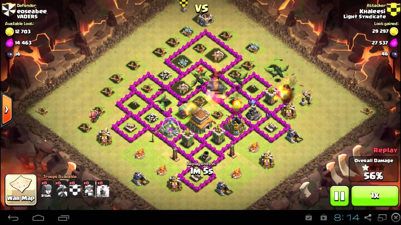 Coc dragon attack with lightning spell youtube