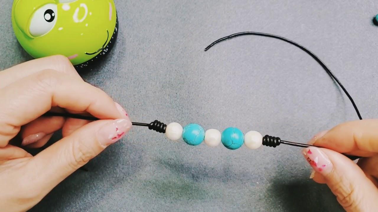 皮绳秘鲁节绿松石珍珠手链,结尾伸缩节DIY