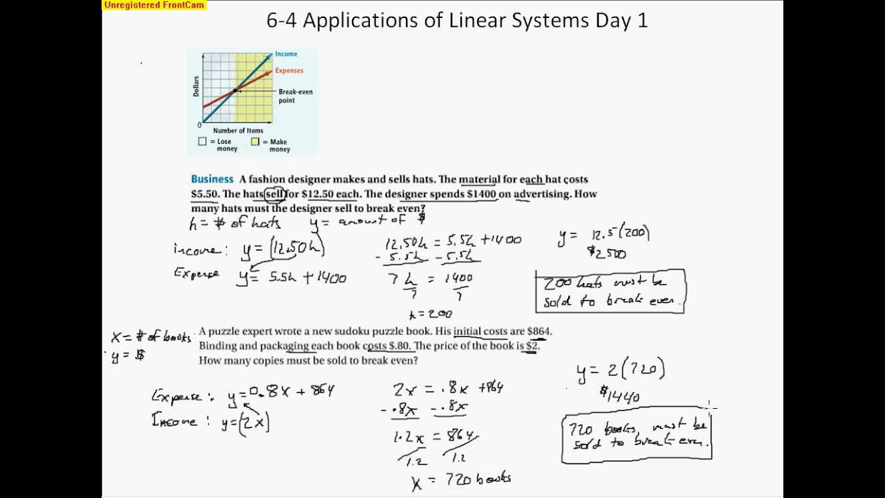 6 4 Applications of Linear Systems Day 1 - YouTube