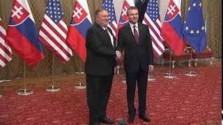 Secretary pompeo meets with slovak prime minister peter pellegrini, in bratislava, slovakia, on february 12, 2019.