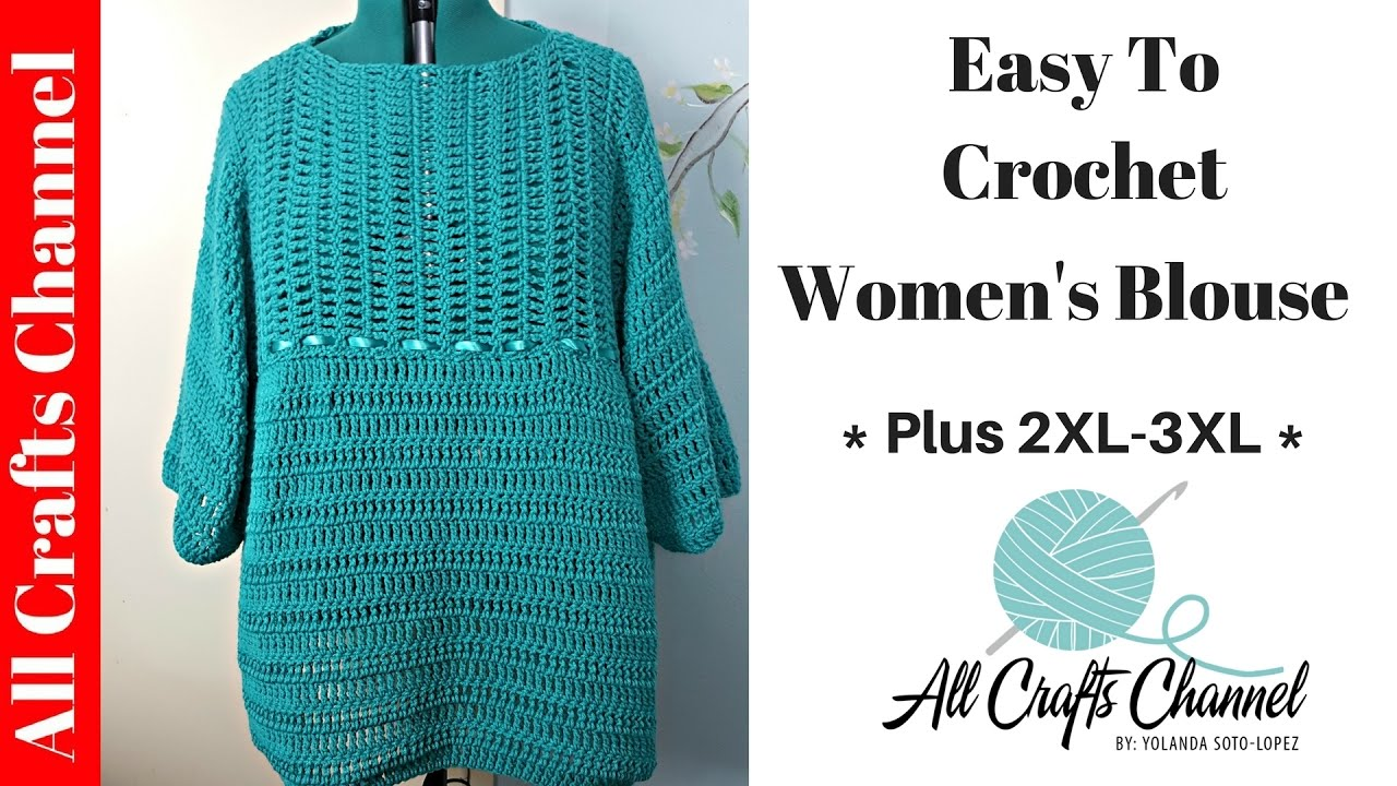 b80e59b05 How to crochet Easy Plus Size Woman s Pullover Sweater - Top - YouTube