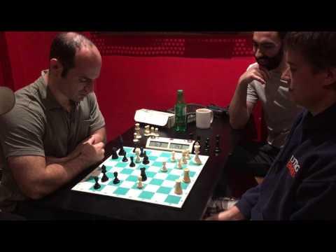 GM Anton Kovalyov vs IM Greg Shahade at Cafe Pi in Montreal