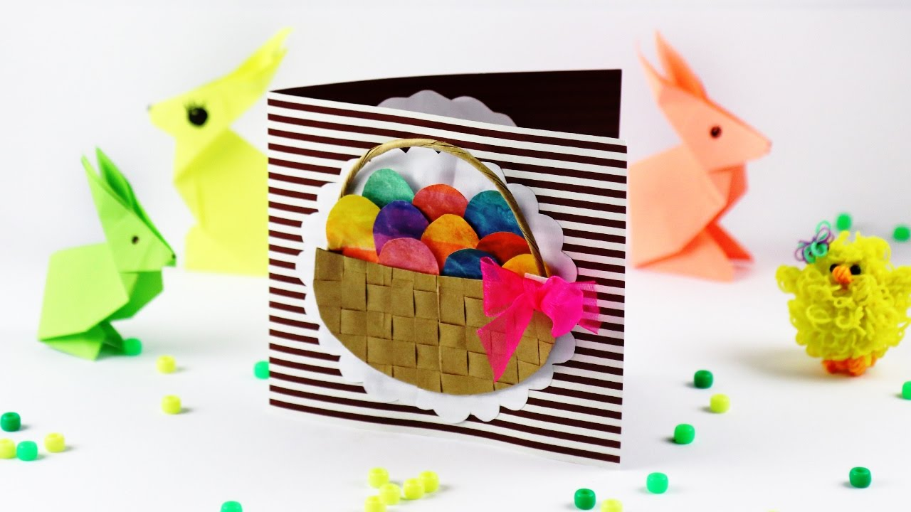 Пасхальная открытка - корзинка с яйцами Поделки для детей на Пасху