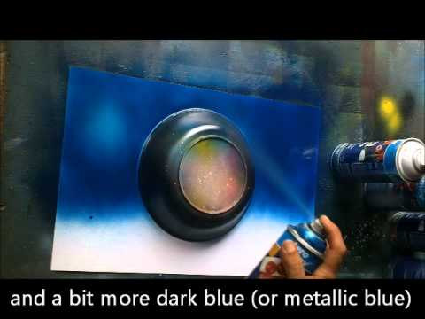 the blue ocean painting spray paint art for beginners youtube. Black Bedroom Furniture Sets. Home Design Ideas